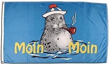 Flagge Moin Moin Seehund Mit Pfeife 2 90 X 150 Cm Sport Freizeit