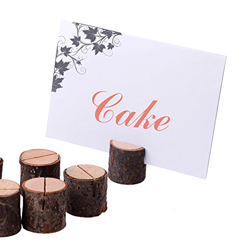 10 Pcs Wooden Card Holder, Rustic Wood Table to Place Name Card Message Card and Photos for Party Home Wedding Decoration