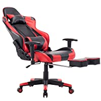Killbee Ergonomic Gaming Chair with Footrest Large Reclining Computer Chair PVC Swivel Leather Executive Office Chair with Headrest Lumbar Support (Red)