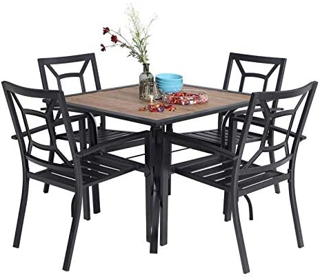 MFSTUDIO 5 Piece Patio Dining Set Metal Patio Armrest Dining Chairs and Larger Square Table Set
