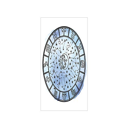 3D Decorative Film Privacy Window Film No Glue,Sun and Moon,Astrology Circle Zodiac Signs and Fantastic Mystic Space Figures,Light Blue Black Lilac,for ()