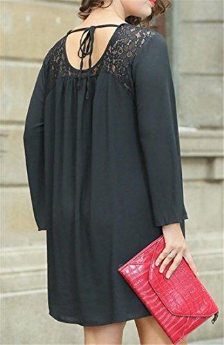 Manches En Mousseline De Soie En Dentelle Cromoncent De Femmes Longues Robes Évider Tie-dos À Dos Ouvert Noir
