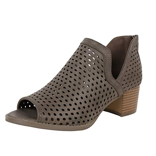 Open Front Ankle Boot - Nailyhome Womens Perforated Booties Ankle V Cutout Block Chunky Low Heel Back Zipper Boots
