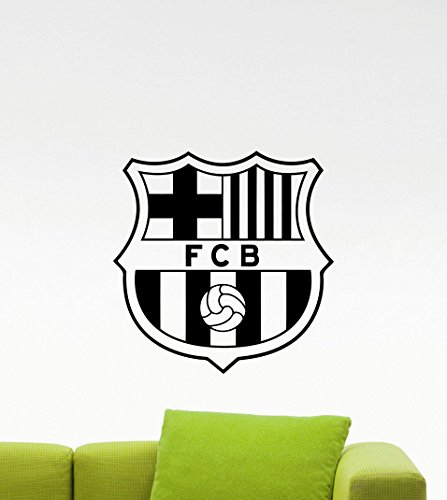 Barcelona Logo Wall Decals Sports Soccer Football Club Emblem Kids Children Poster Stencil Decor Sports Vinyl Sticker Home Art Design Removable Mural (487n)