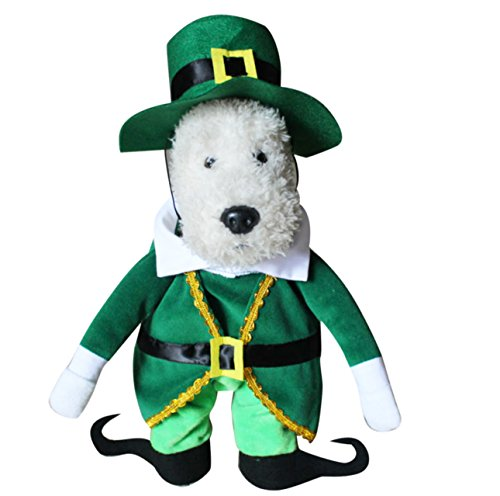 [Winter Christmas Green Elf Pet Dog Dressing Up Suit with Hat Party Costume (Leprechaun, L)] (Business Suit Dog Costume)