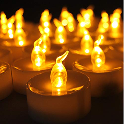 AGPtek 24 Pack Flameless Amber Yellow Wave Open Led Tea Light Candle Realistic flickering Bulb Timer 6 Hours On Seasonal Festival Celebration Electric Battery Fake Candle ()
