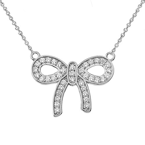 Bow With Diamond Necklace - Fine Diamond-Accented Bow Tie Ribbon Necklace in 14k White Gold, 16