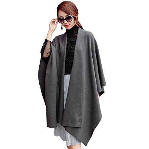 Ysiop Women Knit Wraps Big Size Pashmina Cappa Worm Tippet Grey