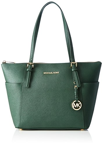 Michael Kors Women's Jet Set Top-zip Saffiano Leather Tote Bag green Verde (Moss)