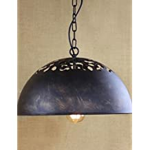 SSBY American Industry, Wrought Iron Chain Hoist, Nostalgia Half A Circle Droplight Restoring Ancient Ways , yellow-110-120v