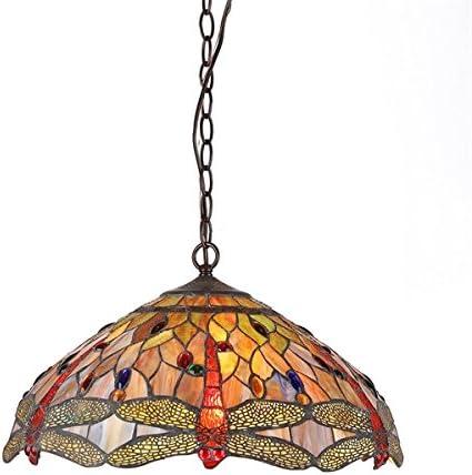 Chloe CH2825DB18-DH3 Tiffany-Style Dragonfly 3-Light Ceiling Pendant Fixture, 18-Inch