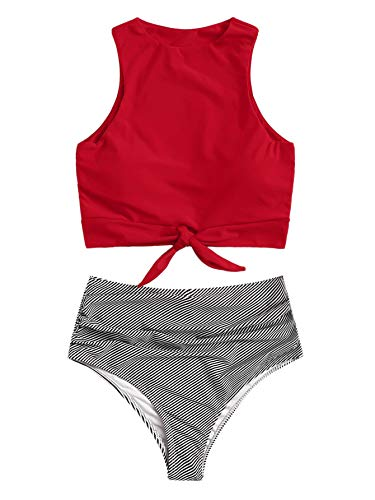 (SweatyRocks Women's Sexy High Waisted Bikini Swimsuit Knot Hem Top Striped Print Two Pieces Tankini Set Red L)