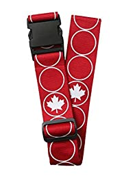 "ORB Travel Premium Designer Luggage Strap 2""x72""-LS240-RW-Maple Leaf-Red/White"