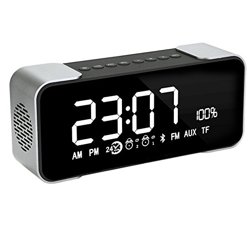 BOXAN Bluetooth Speaker with Alarm Clock, Portable Wireless Stereo Super Bass Hi-Fi, FM Radio, LED Light, Hands-free, Two Subwoofer Enhanced Bass Surround Sound for iPhone Samsung Mac Computer - Grey