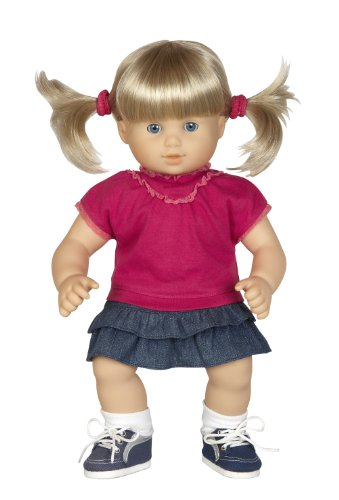 """T-shirt with Ruffled Denim Skirt and Sneakers - Outfit Fits 15"""" Dolls Like Bitty Baby® and Bitty Twins®"""