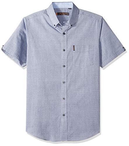 Ben Sherman Men's SS Micro DMND Dobby Shirt, Washed Denim L