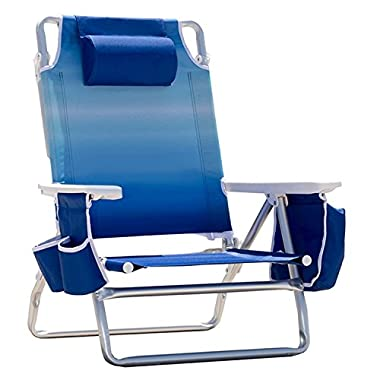 Nautica Reclining Portable Beach Chair with Insulated Cooler (Blue Ombre)