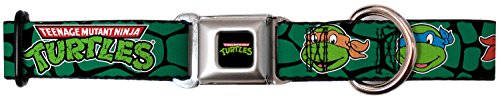 Buckle-Down Dog Collar Seatbelt Buckle - Classic TMNT Turtle Faces Black/Green Turtle Shell - 1.5