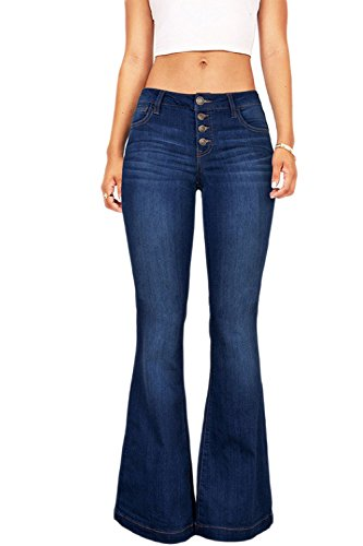 Bell Pants Bottom Solid Otoño Flare Jeans Diario Azul A Apretado Casual Mujeres fq4awTdxT
