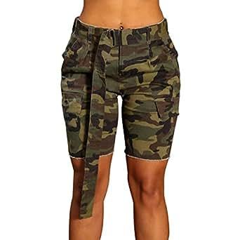 LIYT Women's Casual Camouflage Denim Shorts Slim Fit