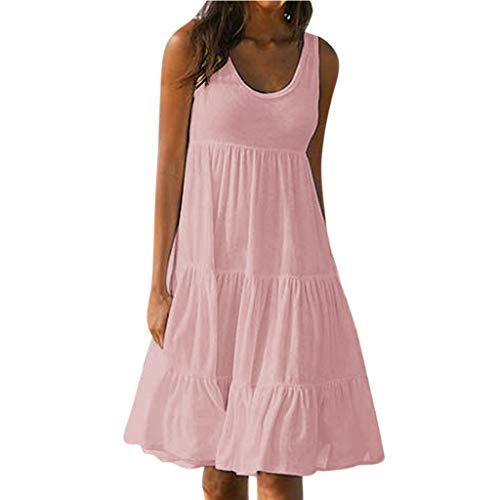 (Fudule Women Sleeveless Dresses Summer Beach Holiday Loose A-Line Swing Dress Mini Dresses Swing Dress for Women Sundress Pink)