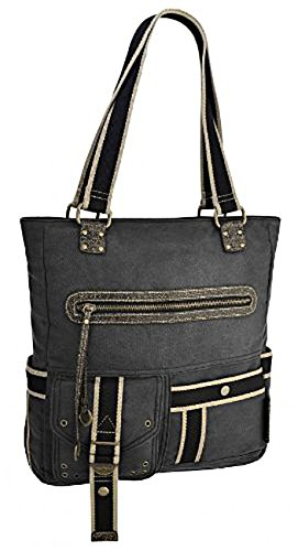 Twin Handled (Sipecusa Womens Twin Handled Canvas Shoulder Bag HandBag Grey)