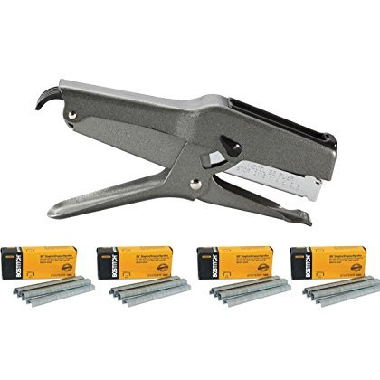 Stanley Bostitch B8 Heavy Duty Plier Stapler (Gray) with 4 Boxes of 1/4'' Staples by Bostitch Office