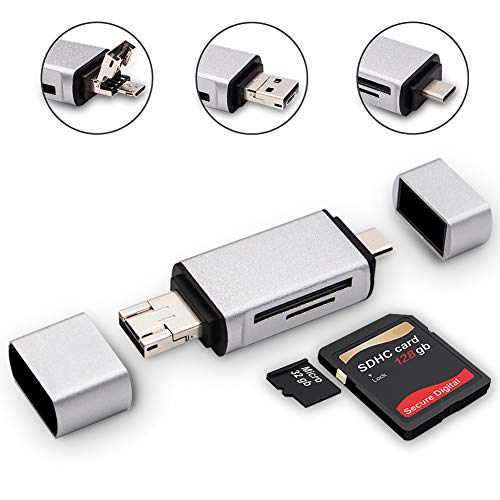 (SD Card Reader, 3 in 1 USB Type C/Micro USB Male Adapter and OTG Function Portable Memory Card Reader for & PC & Laptop & Smart Phones & Tablets)