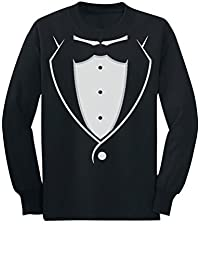 Tstars - Tuxedo With Black Bow Tie Funny Toddler/Kids Long sleeve T-Shirt