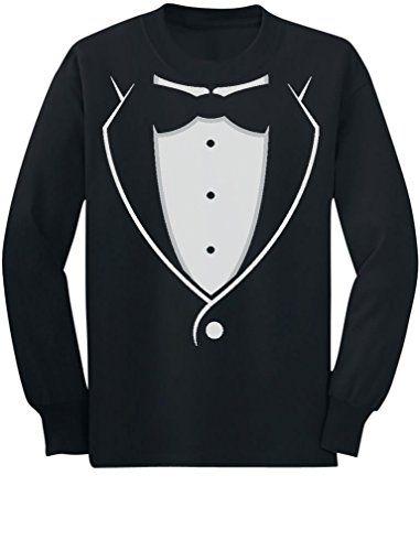 TeeStars - Tuxedo with Black Bow Tie Funny Toddler/Kids Long Sleeve T-Shirt 4T Black ()