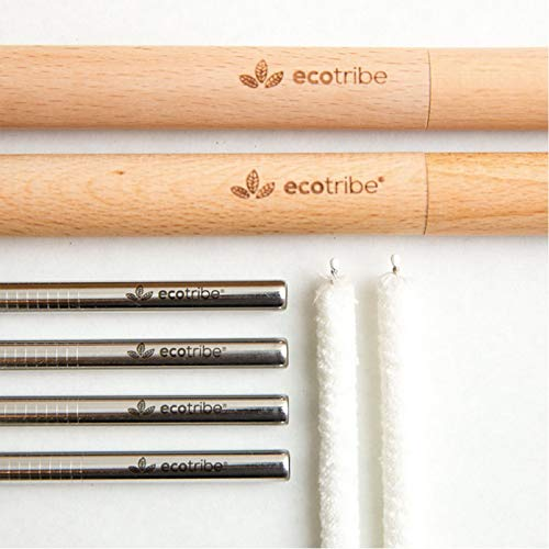 (Reusable Metal Stainless Steel Straws: 4 Travel Reusable Straws + 2 Wooden Cases + 2 Cotton Cleaning Brushes + 1 Pouch, for Hot and Cold Drinks, Portable for Personal Use, 8.5 inches, by EcoTribe)