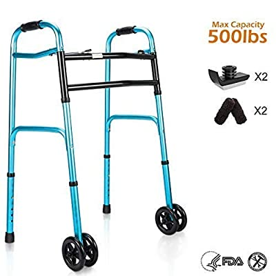 OasisSpace Heavy Duty Folding Walker, Bariatric Walker with 5 Inches Wheels for Seniors Wide Walker Supports up to 500 lbs [Walker Accessories Included] (Heavy Duty Size)