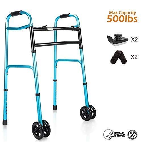 OasisSpace Heavy Duty Folding Walker, Bariatric Walker with 5 Inches W