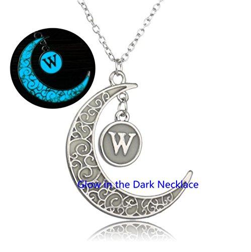 Glow In The Dark Orb Necklace Glow Moon Necklace,Glow Moon W Necklace Initial
