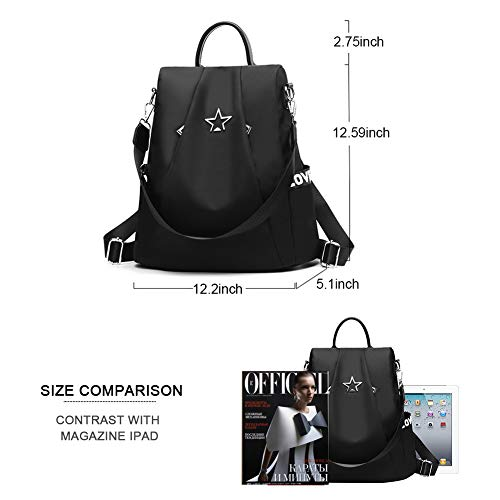 School Waterproof Bag Purse Backpack Women theft Anti Black Nylon Shoulder Lightweight Rucksack qApn186f