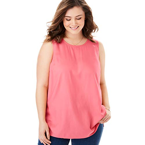 Rose Sleeveless Shell - Woman Within Women's Plus Size Sleeveless Shell - Tea Rose, 22/24