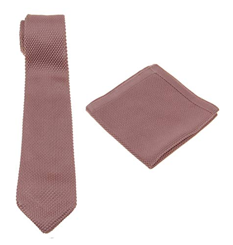 (Mens Charm Solid Knit Tie Set : Necktie and Pocket Square-Various Colors(Dusty Rose Pink))