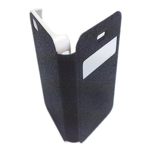 handy-point Wallet Book Case Bookstyle Buchhülle Tasche Hülle in Buchform Schutzhülle Schutztasche für iPhone 4, 4G, 4S, Schwarz, aus Kunststoff, Kunstfaseroptik mit Sichtfenster