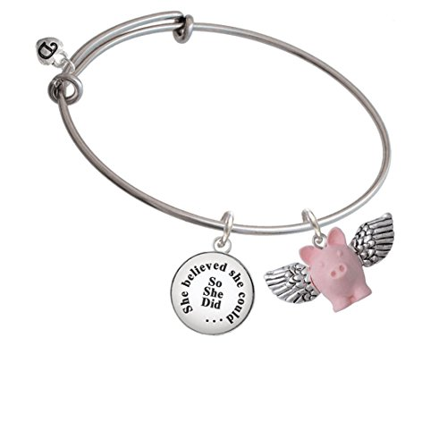 - Silvertone Pink Flying Pig with Wings She Believed She Could Bangle Bracelet