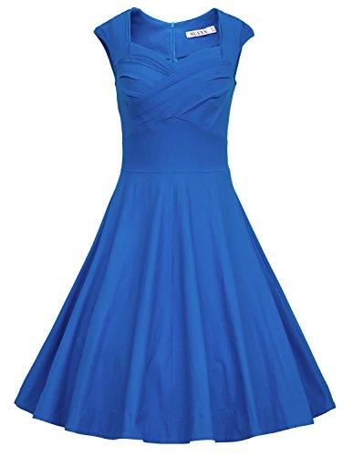 MUXXN Women's 1950s Vintage Retro Capshoulder Party Swing Dress (XL, Color Blue)