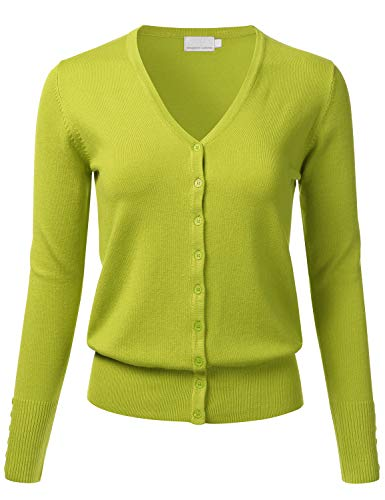 FLORIA Women's Button Down V-Neck Long Sleeve Soft Knit Cardigan Sweater Lime S ()