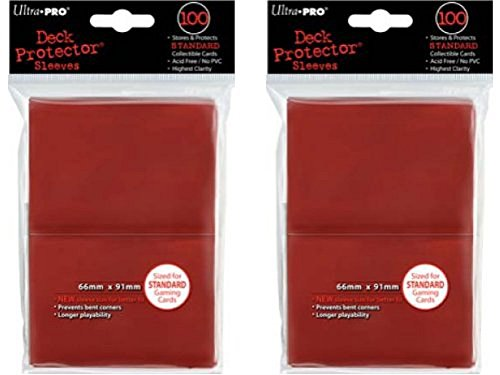 200 Ultra-Pro Red Deck Protector Sleeves 2-Packs - Standard Magic the Gathering Size (2 Pack Deck)