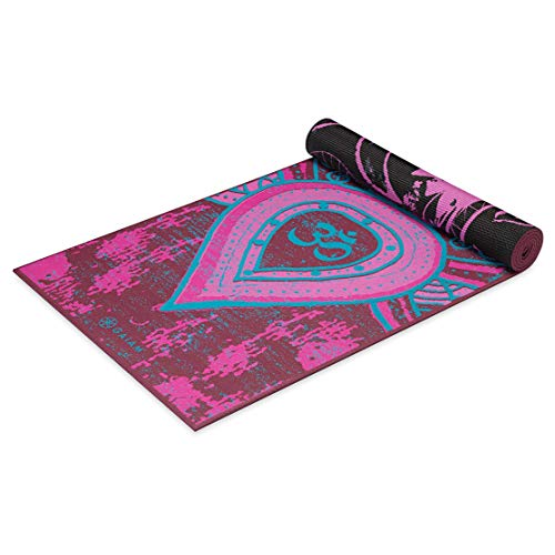 Gaiam Yoga Mat Premium Print Reversible Extra Thick Non Slip Exercise & Fitness Mat for All Types of Yoga, Pilates & Floor Exercises, Be Free, 4mm