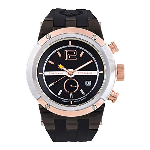Mulco Watches for Women Bluemarine Glass Rose Gold Analog Watch with Yellow and Black Case, Black Silicone Band