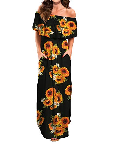 VERABENDI Women's Summer Off Shoulder Loose Plain Floral Maxi Dress Print Casual Long Dresses with Pockets