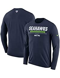 Men's Seattle Seahawks Dri-Fit Long Sleeve Sideline T-Shirt - College Navy (XX-Large)