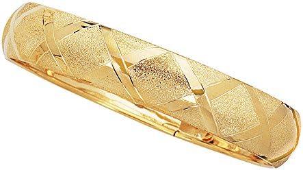 Ritastephens 10k Yellow Gold Tubular Engraved Flex Bangle Bracelet 12mm