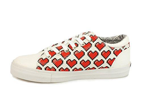 Cuori Moschino Bianco Sneakers Tessuto Rosso JA15223G15IF0100R Donna Love Lacci wIdqd4