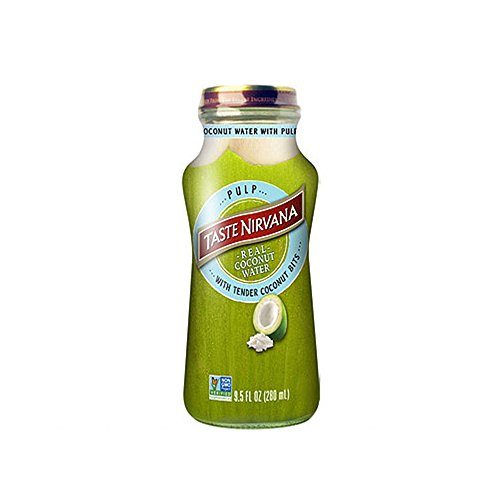 Taste Nirvana Real Coconut Water, Coco Pulp with Tender Coconut Bits, 9.5 Ounce Glass Bottles (Pack of 12)