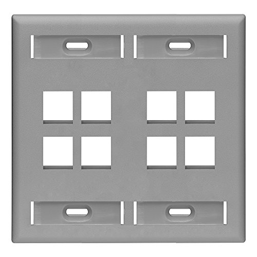 Leviton 42080-8GP 8-Port Dual Gang QuickPort Wallplate with